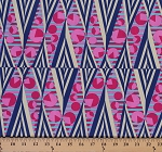 Cotton Amy Butler Hapi Glow Circles Circle Dots Dot Triangles Triangle Stripes Navy Pink Cotton Fabric Print by the Yard (PWAB118-NAVY)