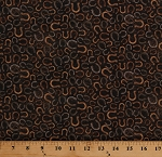 Cotton Horseshoes Horse Shoes Equestrian Western Wild & Free Brown Vintage Look Cotton Fabric Print by the Yard (21857-36BROWN)