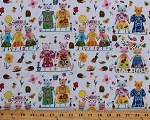 Cotton Cats Best Friends Animals Hedgehogs Flowers BFFs Carolyn Gavin Kids Cotton Fabric Print by the Yard (50483-X)