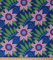 Cotton Flowers Pink Large Scale Floral on Blue Jane Sassaman Gregory's Garden Clematis Cotton Fabric Print by the Yard (PWJS058-blue)