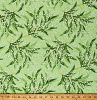 Cotton Lily of the Valley Tossed Flowers Floral on Green Botanical Greenery Cotton Fabric Print by the Yard (MAS8290-G)