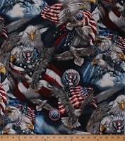 Cotton Bald Eagles Birds Patriotic USA United States America American Flags Fourth of July Patriots Americana Cotton Fabric Print by the Yard (ABK-12484-202AMERICANA)