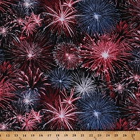 Cotton Fireworks 4th of July Independence Day Holiday Celebrations Red White and Blue Patriotic America USA Black Cotton Fabric Print by the Yard (USA-C5565)