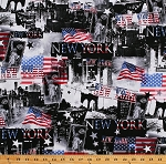 Cotton New York City USA American Flags Statue of Liberty Landmarks Patriotic All American Black Cotton Fabric Print by the Yard (08038-76)