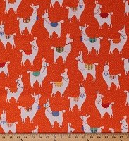 Cotton Llamas Alpacas Animals Pom Poms Southwestern Orange Polka Dots Llama Llama Cotton Fabric Print by the Yard (21806-58ORANGE)