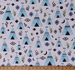 Cotton Blue Teepees Teepee Tipis Tents Cactus Cacti Moons Southwestern Tribal Native American White Cotton Fabric Print by the Yard (P4338-454DUNE)