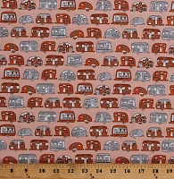 Cotton Campers Trailers Caravans Camping Vacation Silver Metallic Shimmer on Orange Transportation On the Road Cotton Fabric Print by the Yard (AFEM-16511-8ORANGE)