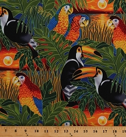 Cotton Parrots Toucans Tropical Exotic Birds Sunset Wildlife Paradise 2 Cotton Fabric Print by the Yard (EZK-5891-206SUNSET)