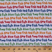 Cotton One Fish Two Fish Red Fish Blue Fish Dr. Seuss Kids Children's Books Multi-Colored Words on White Cotton Fabric Print by the Yard (ADE-16330-203CELEBRATION)