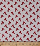 Cotton Blend Knit Jersey Red Roller Skates Roller Skating Derby Stretch Fabric By the Yard (2917F-8N)