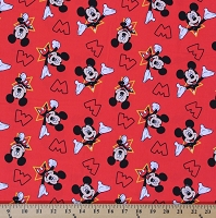Mickey Mouse Stars Star Allover Red Disney Polyester Cotton Blend Fabric By the Yard (2281S-3N-red)