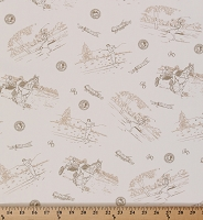 Golfing Scene Vintage-look Cream Golfers Golfer Golf Cotton Polyester Blend Fabric Print By the Yard (2386T-3N)