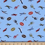 Cotton Knit Planes and Helicopters Pilot Kids Stretch Fabric by the Yard- Blue (9368F-11M)