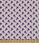 Cotton Blend Jersey Purple Roller Skates Skating Roller Derby White Stretch Knit Fabric by the Yard (2787F-7N)