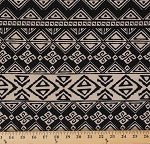 Techno Scuba Knit Tan Black Design Polyester Spandex Blend Fabric by the Yard (8927F-6M)