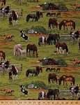 Cotton Horses Foals Scenic Field Pasture Country Farmhouses Barns Farm Animals Green Cotton Fabric Print by the Yard (339-GREEN)