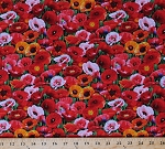 Cotton Poppies Poppy Field Red Orange Pink Flowers Floral Veterans Memorial Day Cotton Fabric Print by the Yard (548-Green)