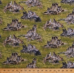 Cotton Wolves Gray Wolf Pups Puppies Cubs Whelps Playing Pack Animals Canines North American Wildlife Green Scenic Nature Cotton Fabric Print by the Yard (5018green)