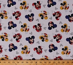 Cotton Mickey Mouse Heads Logos Icons Kids Children's Cartoon Characters Disney The One and Only White Cotton Fabric Print by the Yard (63316-G550715)