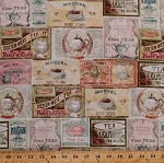 Cotton Vintage Tea Boxes Labels Teacups Teapots Kettles Tea Time Multi Pastel Kitchen Cotton Fabric Print by the Yard (Y2088-54)