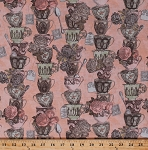 Cotton Tea Time Stacked Teacups Cups Mugs Dishes Tea Bags Flowers Roses Vintage Floral Kitchen Light Pink Cotton Fabric Print by the Yard (Y2090-41)