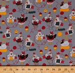 Cotton Knitting Roosters Chickens Chicks Hens Yarn Balls Knitters Knit Egg Cups Nest Farm Fowl Birds Gray Cotton Fabric Print by the Yard (gail-c5605-grey)
