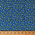 Cotton Moons and Stars on Blue Night Sky Nighttime Bedtime Kids Children's Baby Babies Nursery Jungle Cotton Fabric Print by the Yard (40862-1)