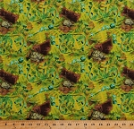 Cotton Turtles Tortoises Green Ferns Animals Jurassic Leaf Leaves Plants Nature Judy Judel Niemeyer Wildflowers Green Cotton Fabric Print by the Yard (ZD-59888-001)