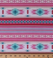 Cotton Southwestern Stripes Native American Aztec Tribal Southwest Tucson Pink Girls' Cotton Fabric Print by the Yard (201-SOFT-PINK)