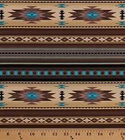Cotton Southwestern Stripes Native American Aztec Tribal Southwest Brown Turquoise Tucson Sepia Cotton Fabric Print by the Yard (201SEPIA)
