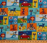 Cotton Pete the Cat Squares Frames Cats Cupcakes Painting Surfing Guitar White Shoes Kids Children's Book Scenes James Dean Cotton Fabric Print by the Yard (R11-9784-0150)