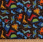 Cotton Dinosaurs Dinos Bones Footprints Tracks Fossils Dragonflies T-Rex Pterodactyl Stegosaurus Triceratops Animals Reptiles Jurassic Jamboree Kids Brown Cotton Fabric Print by the Yard (35290-19)