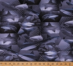 Cotton Sharks Fish Water Sea Marine Animals Swimming Hexagons Polka Dots Ocean Ave Gray Cotton Fabric Print by the Yard (05950-12)