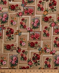 Cotton Roses Rose Species Kinds Types Red Pink Golden Roses Cards Rectangles Flowers Floral Bouquets Garden Gardening Heirloom Diary Antique Vintage Cotton Fabric Print by the Yard (AOG-16067-199antique)