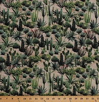 Cotton Cactus Cacti Prickly Pear Saguaro Golden Barrel Desert Plants on Sand Adobe Southwestern Southwest Nature Cotton Fabric Print by the Yard (50534-1)