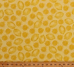 Cotton Lemons Lemon Slices Citrus Fruits Fruit Summer Food Kitchen Culinary Garden Maine Attraction Yellow Cotton Fabric Print by the Yard (05216-33)