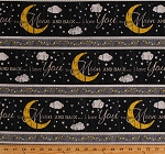 Cotton Moon Stars Clouds Words I Love You To the Moon and Back Nighttime Night Sky (8 Parallel Stripes) Cotton Fabric Print by the Yard (moon-c5531noir)