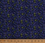 Cotton Blueberries Blueberry Fruits Fruit Berries Leaves Food Kitchen Summer Harvest Farmer's Market Farmer J Garden Party Blue Purple Cotton Fabric Print by the Yard (120-13281)