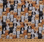 Cotton Dogs Puppies Cute Puppy Dog Breeds Pets Animals Dalmatians Golden Retrievers Labradors Labs Canine Cotton Fabric Print by the Yard (KIDZ-C1472)