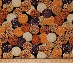 Cotton Cookies Allover Chocolate Chip Sugar Cookie Kitchen Baking Bakery Food Snacks Biscuits Sweets on Black Cotton Fabric Print by the Yard (FOOD-C5646-COOKIE)