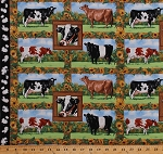 Cotton Cows Farm Animals Holstein Jersey Cattle Frames Rectangles Blocks Sunflowers Flowers Floral Country Farming Old Farmstead Cotton Fabric Print by the Yard (8700-066green)