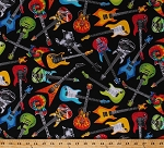 Cotton Guitars Electric Guitar Acoustic Guitars Stringed Instruments on Black Music Musical Musicians Guitarists Cotton Fabric Print by the Yard (FUN-C4824-BLACK)