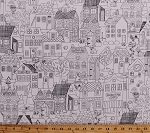 Cotton Coloring Book Houses Quilter's Inn Buildings Village Outhouses Chickens Buttons Dogs Pincushions Sewing Seamstress Quilting Outline Home Sweet Home Neighborhood Row by Row 2016 White Cotton Fabric Print by the Yard (ROW-C4721-WHITE)