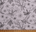 Cotton Coloring Cardinals Birds Pine Tree Cones Branches Holly Leaves Berries Winter Snowflakes Christmas Holiday Let's Color! Birdhouses Cotton Fabric Print by the Yard (8259-001white)