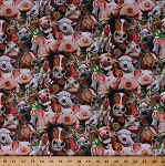 Cotton Farm Animals Cows Horses Pigs Sheep Geese Goats Rosters Chickens Donkeys Funny Faces Smiling Farm Selfies Cotton Fabric Print by the Yard (1323green)