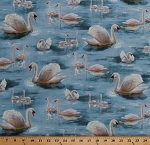 Cotton Swans Birds Swan Waterfowl Splendid Swans Nature Blue Cotton Fabric Print by the Yard (1649-26664-B)
