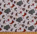 Cotton Circus Animals Lions Elephants Tigers Dogs Monkeys Seals Penguins Cats Ducks Popcorn Kids Children's Daphne's Circus White Cotton Fabric Print by the Yard (K4105)