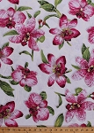 Cotton Pink Orchids Orchid Large Flowers Plants Leaves Floral Botanical Blossoms Blooms Spring Gold Metallic Shimmer Glitter Marble Sandscapes Nature Artisan Spirit White Landscape Cotton Fabric Print by the Yard (21527M-10WHITE)