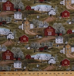 Cotton Amish Farms Farmhouses Barns Village Country Countryside Rural Quilt Shops Churches Farm Animals Cows Chickens Geese Scenic Folk Art Headin' Home Cotton Fabric Print by the Yard (4701green)
