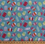 Cotton Ice Cream Icecream Cones Popsicles Frozen Treats Sweets Summer Food Picnic Chasing Waves Red Brolly Blue Cotton Fabric Print by the Yard (R58-9736-0150)